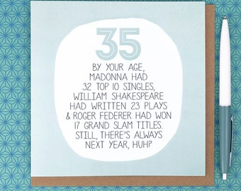 35th Birthday Card - funny birthday cards - funny 35th birthday cards - birthday card for a friend