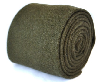 plain khaki army dark green 100% wool tie by Frederick Thomas FT2084