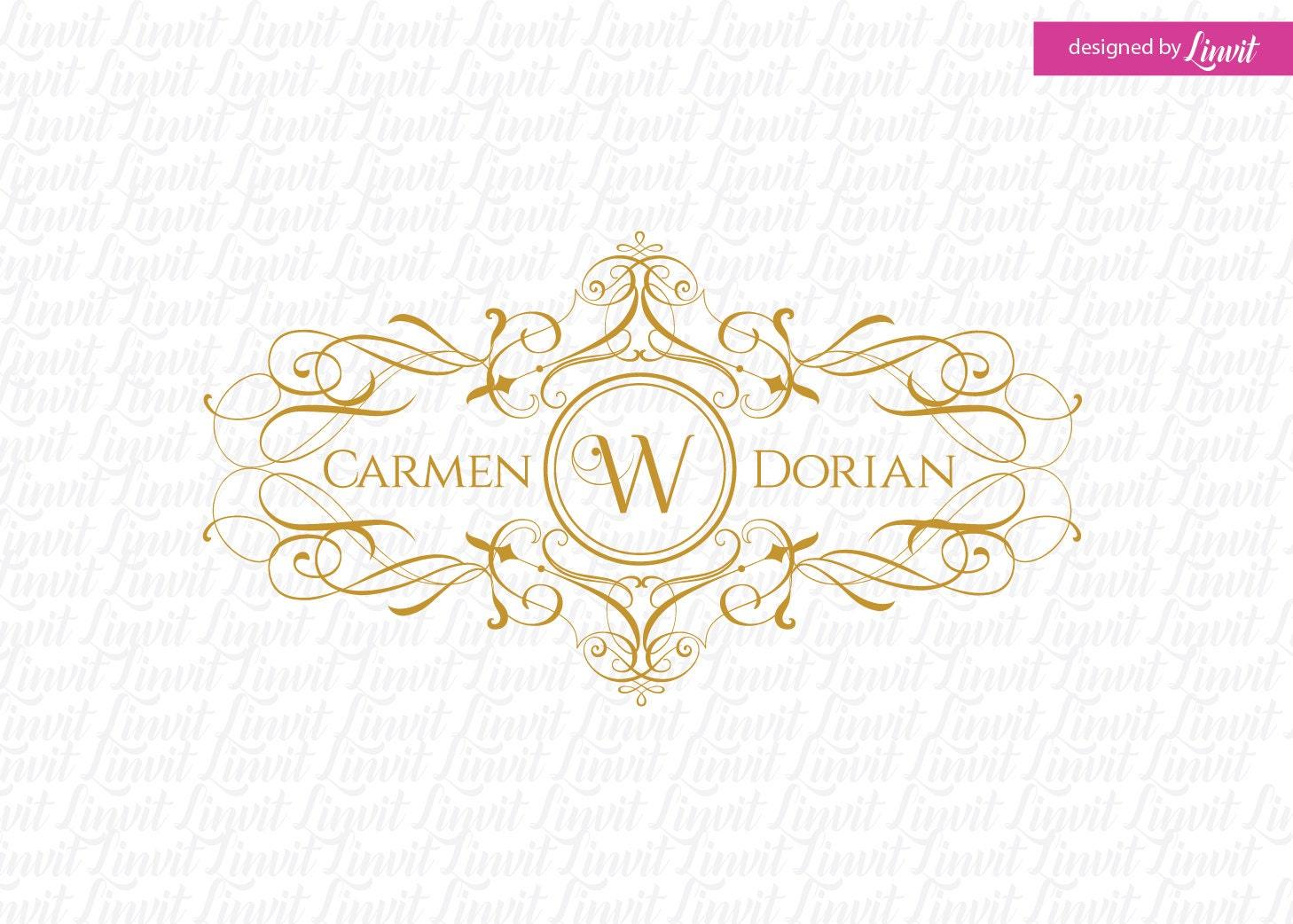 Calligraphy wedding monogram logo crest custom