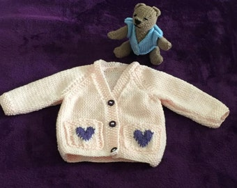 Hand Knitted new born Baby Girls' Cardigan