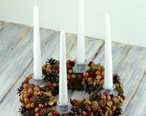 Handmade natural Christmas wreath with candles, Advent wreath, Xmas decoration, Centerpiece, Pinecone Wreath With Four Candles, Candle ring