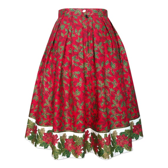 Red Christmas Skirt Christmas Tree Skirt Pleated Midi Skirt