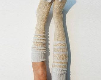 Ivory Knee High Socks Scandinavian Pattern