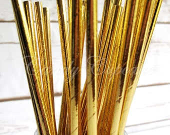 SOLID GOLD METALLIC 25 Paper Straws, Birthday, Party, Wedding, Paper Straws
