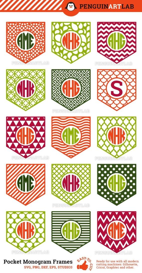 shirt pocket monogram frames svg cut files for electronic