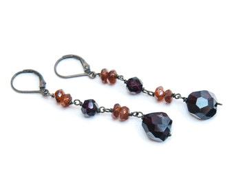Garnet and Hessonite Oxidized Sterling Earrings