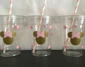 Minnie Mouse pink and gold birthday cups, Minnie Mouse pink and gold party cups, Pink and Gold Minnie Mouse party cups