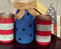 Americana mason jars. Red white and blue centerpiece. Rustic primitive mason jars