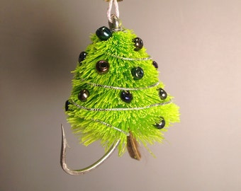 Hand Tied Spun Deer Hair Fly Fishing Fly Christmas Tree Ornament on Hook - 2.75 inches tall - Chartreuse Tree - Mardi Gras color
