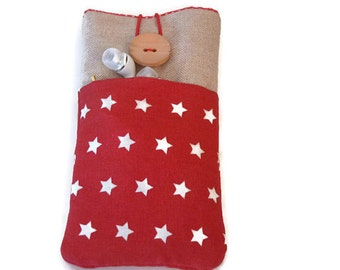 iPhone 6s Plus case,  Fabric Pouch iPhone 5S case,  iPhone 6s Case, iPhone SE case,  iPod Touch 6g pouch, cell phone pouch red stars pockets