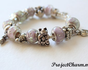 Genuine Pandora Bracelet ~ PET PARADE ~ with Glow in the Dark European Style Beads and Silver Plated Charms