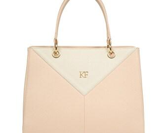 Leather Top Handle Bag, Beige Leather Handbag Top Handle, Women's Leather Bag KF-547