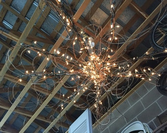 Lighted Umbrella/Grapevine Chandelier