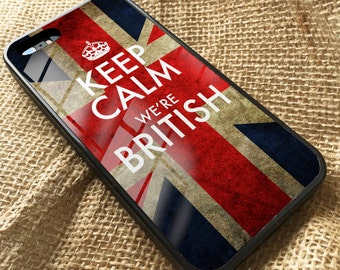 Keep Calm We're British iPhone Rubber and Metal hard back Union Jack Flag Case Cover