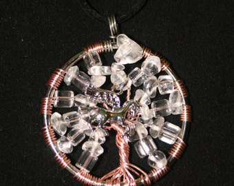 Clear Quartz Crystal Tree of life Pendant with Silver Unicorn/ Wired Tree Of Life Necklace