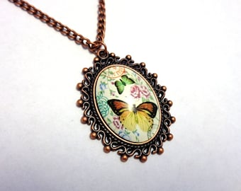 Copper coloured pendant glass cabochon necklace butterflies