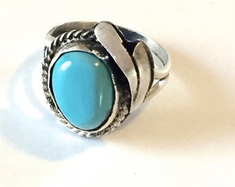 Vintage Native American Turquoise & Sterling Silver Ring Sz 7, Navajo Ring, Turquoise Ring