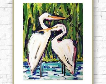 Modern Art Print , Abstract Print, 11x14, Egrets, marendevineart