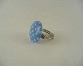 SALE polka dot button wire wrapped ring