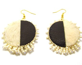 "Earrings ""Ayaka"" faux leather, OOAK"