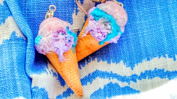 Cotton Candy Ice Cream Cone Earrings - Miniature  Food  Jewelry - Inedible Jewelry, Junk Food Jewelry,  Gift for Foodies, Ice Cream Earrings