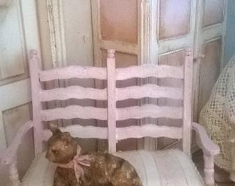 Miniature Dollhouse-BENCH Shabby Chic Style Shabby Chic Bench