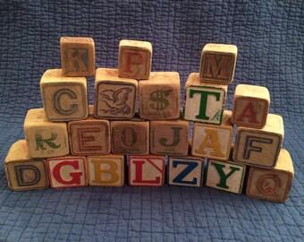 Antique Alphabet Blocks/Vintage Wood Alphabet Blocks