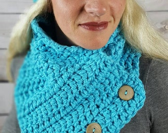 Crocheted Cowl, Boston Harbor Cowl, Crocheted Scarf, Handmade Cowl, Chunky Cowl - 3 Button Boston Harbor - Turquoise