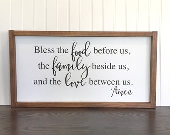 Bless the food before us, the family beside us, and the love between us Amen Wood Sign, Dining Room Decor, Kitchen Wood Sign