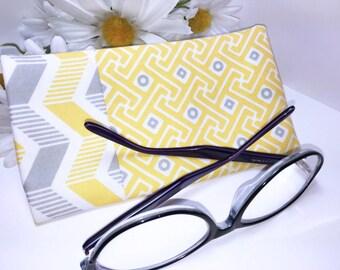 Yellow Chevron Glasses Case, Eyeglass Case, Sunglasses Pouch, Glasses Pouch, Slip Style, Sunglasses Case, Premium Designer Fabric