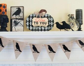 Crow Banner, Crow Halloween Banner, Halloween Burlap Banner, Black Crow Halloween Burlap Banner, B177