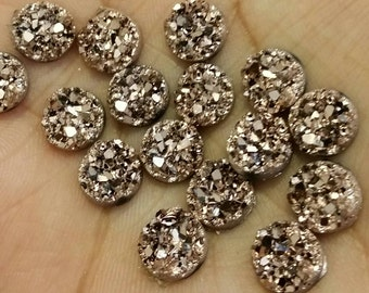 Metallic Rose gold 8mm chunky faux druzy Cabochons 10pcs (C5:5-189)
