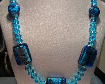Turquoise and Cobalt Foil-Lined and Turquoise Glass Beaded Necklace