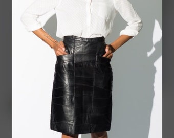 """Vintage """"Patch Me if you Can"""" Leather Skirt"""