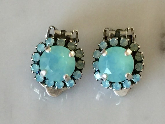 Swarovski Pacific Opal Crystal Halo Clip On Earrings, Antique Silver