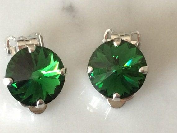 Dark Moss Green Swarovski Crystal Clip On Earrings, Silver