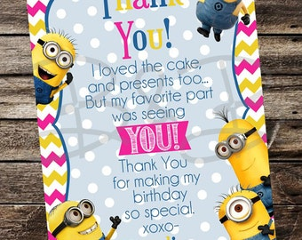 Pink Minion Thank You Card