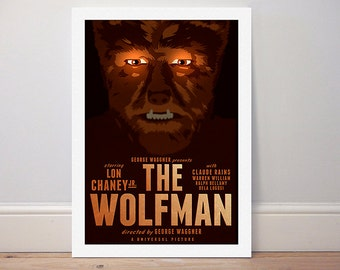 Movie poster 'The Wolfman' 1941 Universal classic colour print