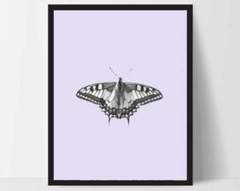 Butterfly with Purple, Printable, Wall Art, Artwork, Home Decor, Modern Print, Print Art, Abstract Art, Color, Decorations, Digital Print