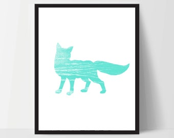 Fox, Wall Art, Artwork, Home Decor, Modern Print, Print Art, Instant Download, Light Blue Aqua, Nursery, Baby, Digital Print