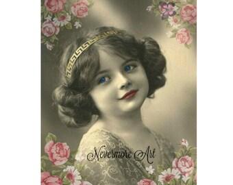 Instant Download Child Print Victorian Girl Roses Printable Digital Collage Ephemera Altered Art Mixed Media Vintage Image Decoupage Photo