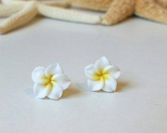 Flower Earrings, Hawaii Flower Earrings, Beach Earrings, Plumeria Earrings - Hawaii Beach Jewelry