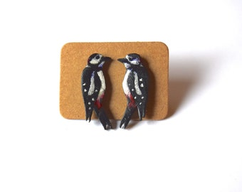 woodpecker bird earrings