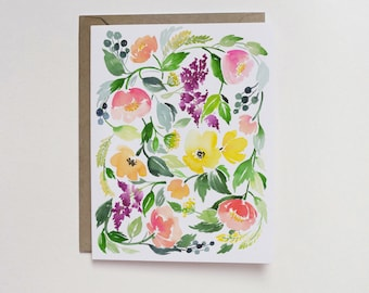 Watercolor Floral Cluster A2 Greeting Card