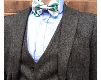 Blue and White Floral Bow Tie - Pretied