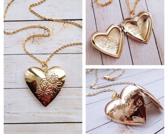 Heart Locket Necklace Engraved Locket Gold Silver Heart Locket Mother of the Bride Locket gold wedding locket