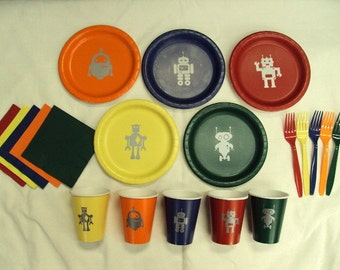 Robotics Party Tableware Set for 5 People