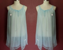 Baby Blue Chiffon Babydoll Nightie with Applique/Medium/Pin-Up/Boudoir Lingerie/Sheer Babydoll/50s Lingerie