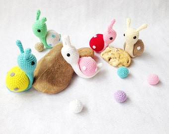 Colorful Snails Crochet, Nursery decor, Snail amigurumi, Crochet Snail, Handmade crochet animal, decor, gift, toys, doll