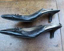 Black slingback shoe size 7 REF 313